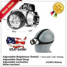 7 LED Adjustable Head-Lamp Headlamp Light Lamp Ultra Bright LED Water Resistant