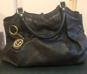 GUCCI Black Leather Guccissima Trim Signoria Medium Sukey Tote Bag