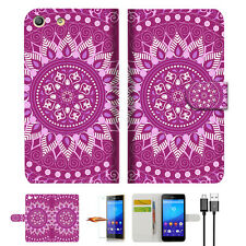 PURPLE AZTEC TRIBAL Wallet TPU Case Cover For Sony Xperia M5 -- A003