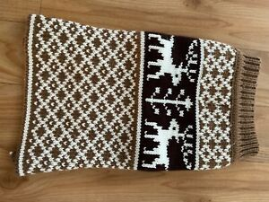 Dog jumper.  Brown & White knitted