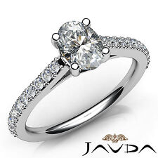 Oval Diamond Shared Prong Set Engagement Ring GIA I VS2 18k White Gold 1.01Ct