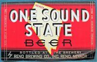 One Sound State Beer Reno Nevada Brewing Co vintage Bottle Label