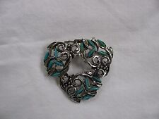 VINTAGE SILVER TONE WITH FAUX TURQUOISE STONES HEART SHAPED BROOCH PIN