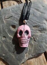 Collar calavera necklace Colgante ceramic skull cabeza muerte punk pink gotico