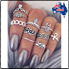 10pcs Set Boho Women Stack Above Knuckle Ring Midi Finger Tip Rings Set Jewelry
