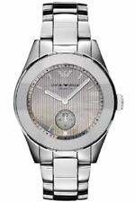 BRAND NEW EMPORIO ARMANI AR1463 LEO CERAMICA GRAY LINED DIAL SILVER UNISEX WATCH