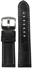 22mm Panatime Black Leather Watch Band w/Gator Print & White Stitch 125/75 22/20