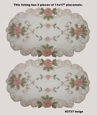 "Spring Embroidered Pink Rose Floral Sheer Placemat Tray Cloth 11x17"" 2Pcs 3737E"