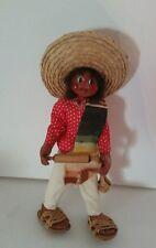 "Vtg Mexican Mache 11"" Folk Art Man Boy Doll carrying chef cook handmade 1960s"