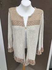 New $149 Chico's Neutral Fringe Textured Cardigan Sweater Jacket 3 XL 16 18 NWT