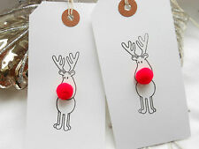 10 White Rudolph The Red Bobble Nosed Reindeer Christmas Gift Tags