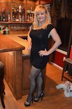 2 Pair Lot Avon Luxury Legwear Sheer BLACK Pantyhose CT Sz B Lycra/Spandex W5