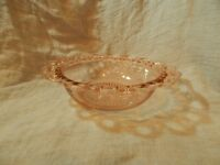 """Vintage Anchor Hocking Old Colony Open Lace Pink Depression Glass Bowl 9.5"""""""