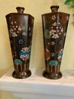 "PAIR Antique Japanese Cloisonne Vases. Hexagonal, 7.5x3"". Graceful, Intricate"