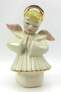 Vintage Figurine 1950s Ceramic Arts Studio Madison WI Angel Halo Star Wings 50s