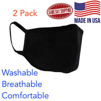 2 pack - Black Face Mask Unisex Adults Cloth Washable Dual Layer