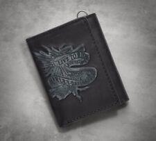 Harley Davidson LIVE TO RIDE Black Leather Tri-fold Wallet, 97662-17VM