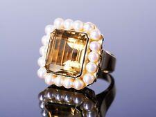 poppiger, frecher XL Citrin Ring mit Perlen Rand - Gold 585 - Vintage Handarbeit