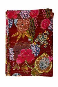 Indian maroon kantha quilt handmade bohemian bedspread cotton blanket twin size