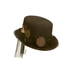 Steampunk Deluxe Hat with Goggles Punk Halloween Fancy Dress Adult Top Hat Cyber