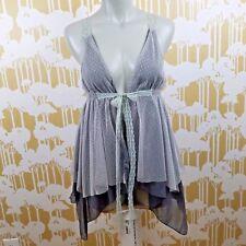 Mystree Women's Size Medium Sheer Lace Mesh Strappy Vest Blouse Hippie Boho NWT