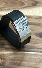 BREITLING 22MM PREMIUM RUBBER ! BLACK WATCH STRAP + CHROME CLASP MENS BAND