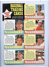 1962 POST CEREAL UN-CUT 7-CARD PANEL w/ HANK AARON, DAVIS HUNT BELL TUTTLE KUENN
