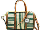 Authentic NWT Fossil Kendall Canvas/Leather Satchel Teal Green ZB7223320
