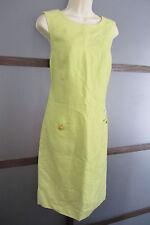 Lime Green Dress Shift Tonal Print TURTLE BUTTONS Adorable Sz 10