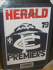 1979 CARLTON UNSIGNED WEG PREMIERS POSTER FRAMED WITH ENGRAVED PLAQUE