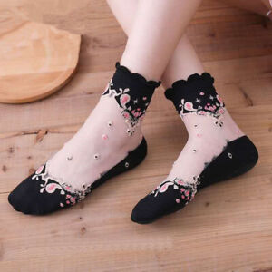 10Pairs Lady Embroidered Lace Socks Sheer Thin Summer Dance Floral Stocking Soft