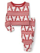 GAP Baby Boys Girls Size 5 Years / 5T Red Bear Fair Isle Christmas Pajama PJ Set