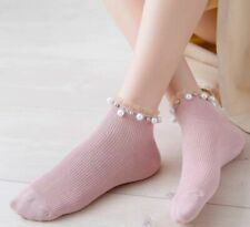 Pink Lady ankle socks with lace and pearl details