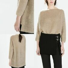 Zara Mohair mix Sand Beige Knit Sweater with sequins  Pullower Jumper Size M