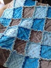 BLUE/TURQUOISE/GRAY:Baby Boy blanket/ rag quilt/ baby shower gift/Stroller