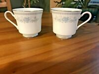 Fine Porcelain China Christine Pattern 2 Tea/Coffee Cups w/ Silver Rim - Japan