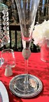 Christian Siriano Champagne Flutes with Silver Rim and Sparkling Crystals