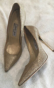 Jimmy Choo Sz 39 Gold Sparkle Heels