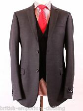 AQUASCUTUM Dark Grey 3 PIECE Flannel Wool Suit UK38 IT48 Made In Italy BRAND NEW