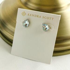 Kendra Scott Tessa Dichroic Glass Stud Earrings Silver
