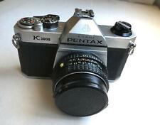 Pentax Ashai K1000 SLR with 50mm 1:2 SMC Pentax M Lens No Strap Serial #6006301
