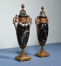 """*15"""" Pair of Antique French Neoclassical Marble & Bronze Urns"""