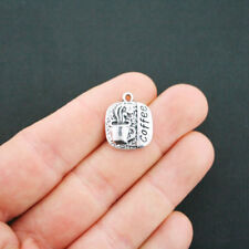 4 Coffee Charms Antique Silver Tone - SC4754