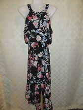 Sleeveless Lined Dress SM ELLE Black & Multi color Floral Elastic waist  NWT