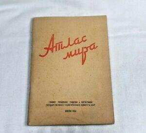 Vintage Soviet Atlas World 1964 Moscow USSR