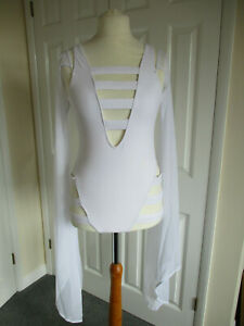 Triple Goddess white one piece swimsuit, detachable sleeves, new + tags - size M