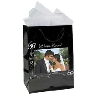 Wedding Party Gift Bags Favor Hold Picture  Lot of 12 Medium Black