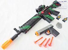 2X Toy Guns Military M-16 Toy Rifle & Grey 9MM Dart Pistol Toy Gun Set