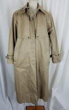 Vintage JG Hook Snap Up Trench Coat Removable Lining Womens 14 USA Tan Khaki