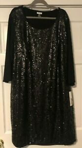 Donna Karan - DKNY Woman - Black Knit Dress with Sequined Front - Size 3X